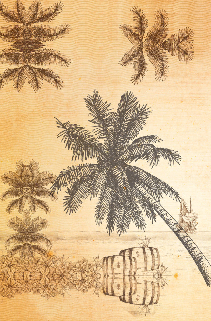 Cane Rum Society - custom Caribbean treasure map wallpaper